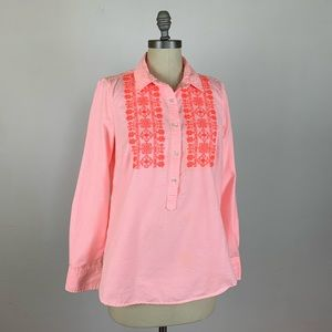 J. Crew Popover Shirt in Embroidered Neon Stripe
